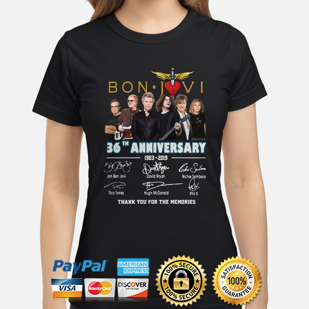 Bon Jovi 26th Anniversary signatures thank you for the memories ladies shirt