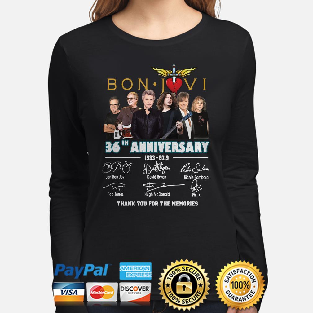 Bon Jovi 26th Anniversary signatures thank you for the memories long sleeve