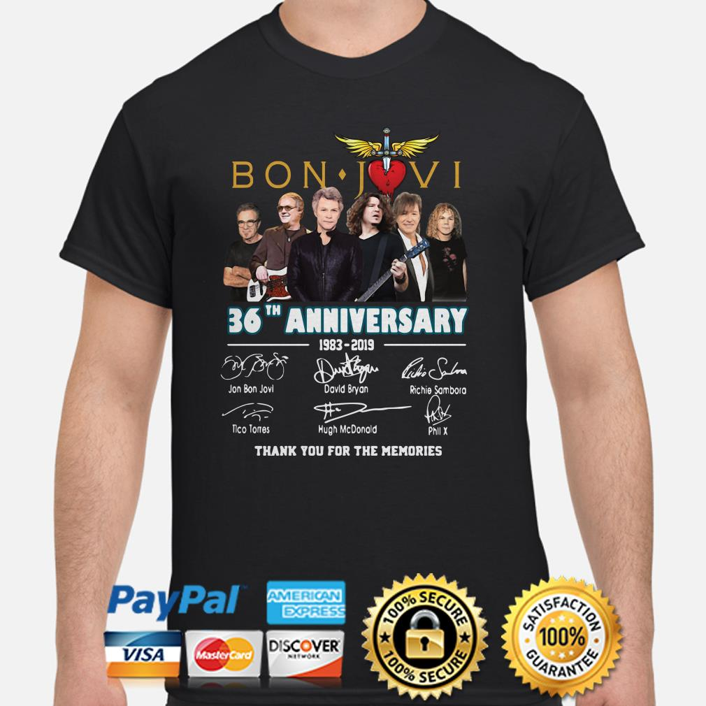 Bon Jovi 26th Anniversary signatures thank you for the memories shirt