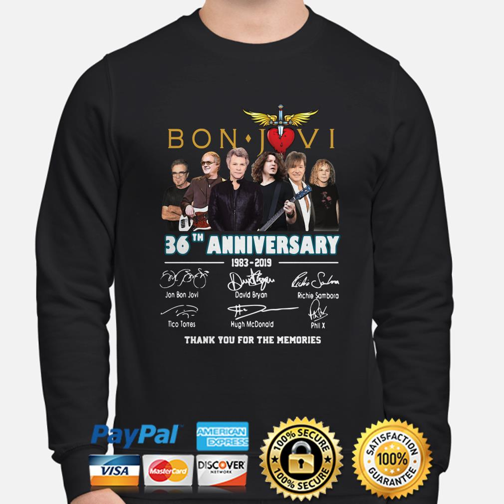 Bon Jovi 26th Anniversary signatures thank you for the memories sweater