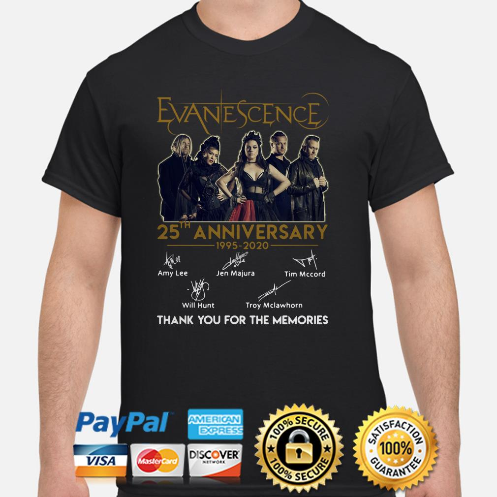 Evanescence 25th Anniversary thank you for the memories shirt