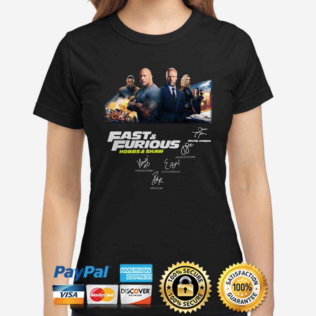 Fast and Furious Hobbs and Shaw signatures ladies shirt