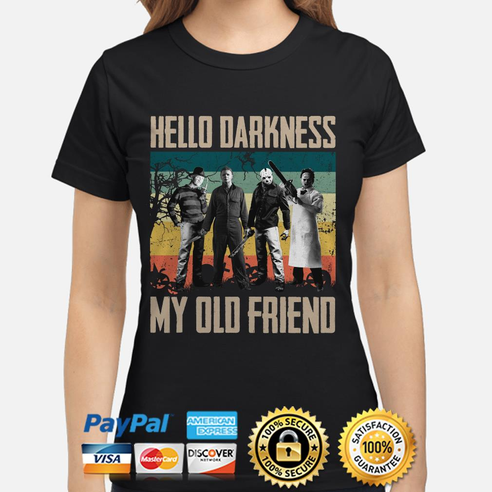 Horror Characters Hello darkness my old friend vintage ladies shirt