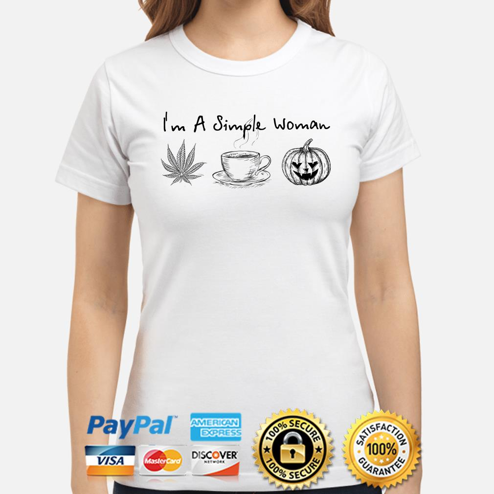 I'm a simple woman love weed coffee and Pumpkin Halloween ladies shirt