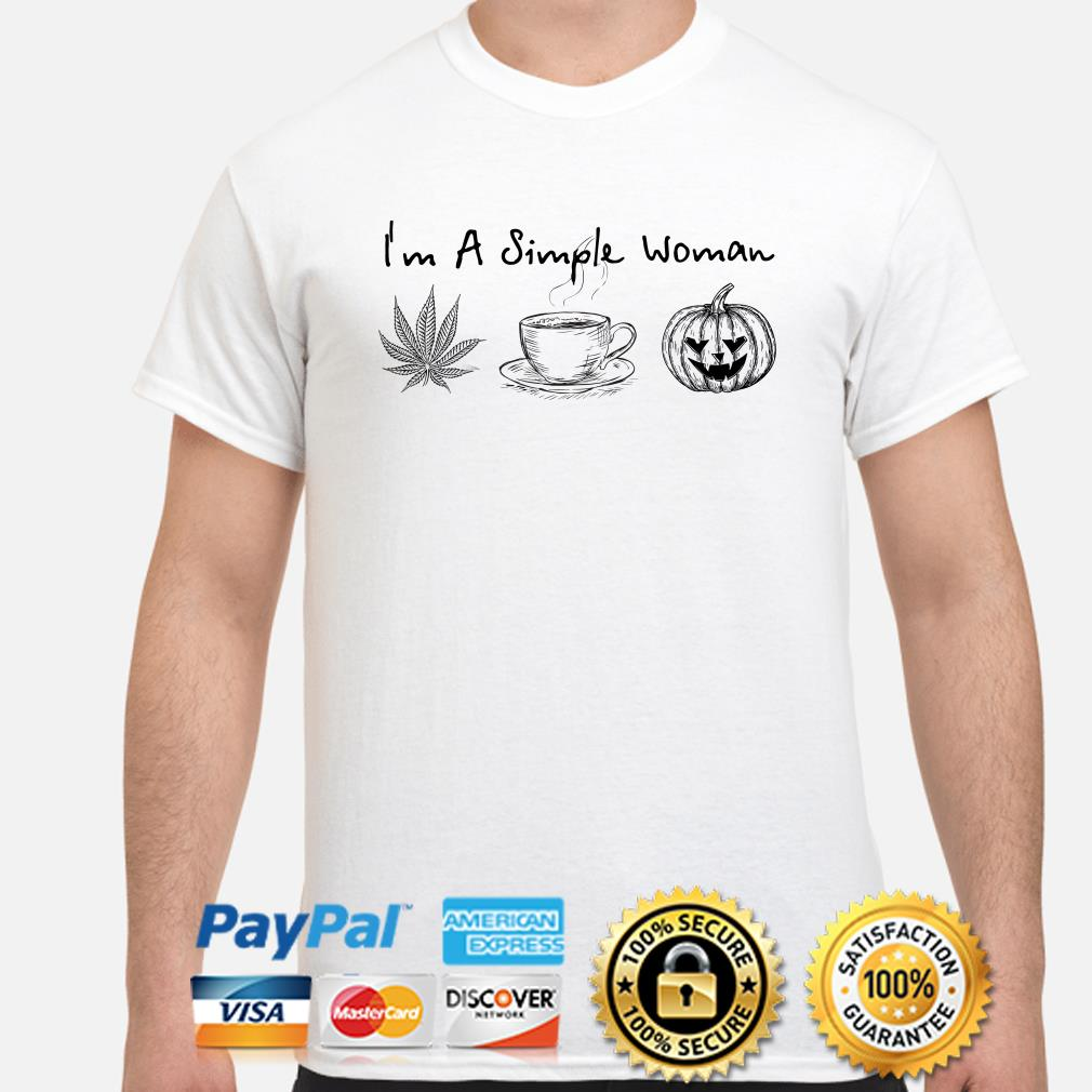 I'm a simple woman love weed coffee and Pumpkin Halloween shirt