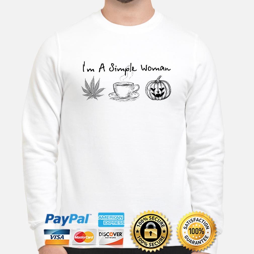 I'm a simple woman love weed coffee and Pumpkin Halloween sweater