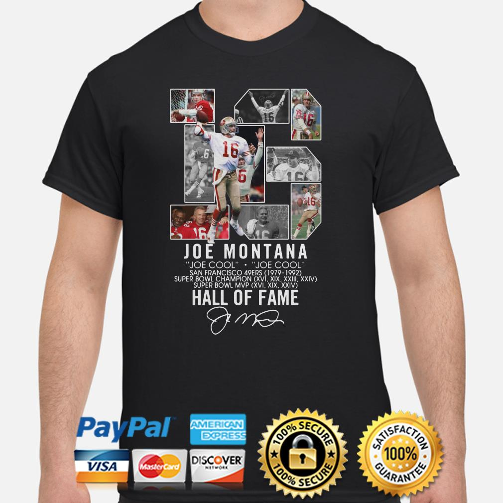 Joe Montana San Francisco 49ers Super bowl champion Hall of Fame shirt