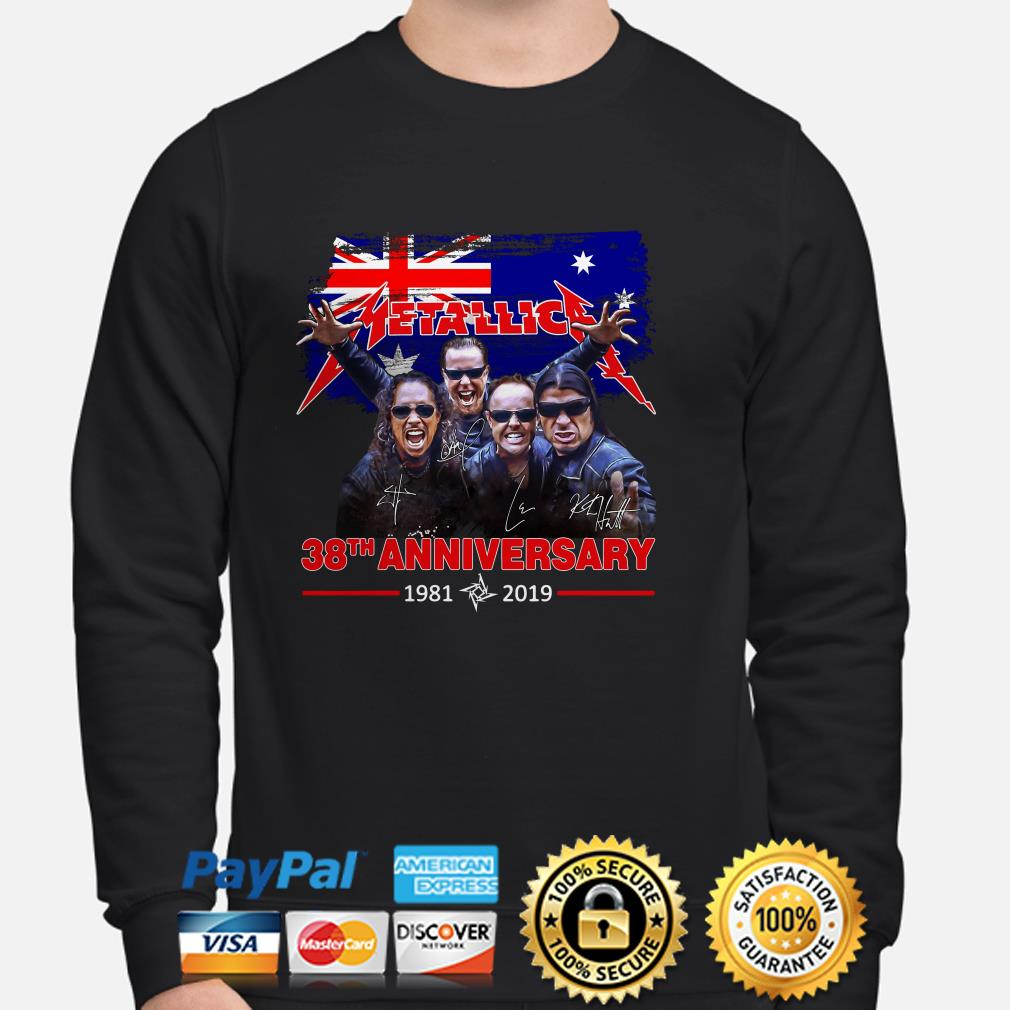 Metallica 38th anniversary 1981 2019 England flag sweater
