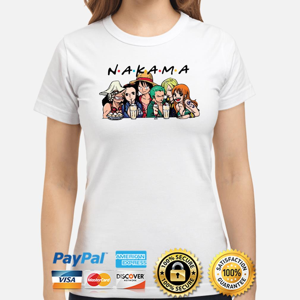 One Piece characters Nakama Friends TV show ladies shirt