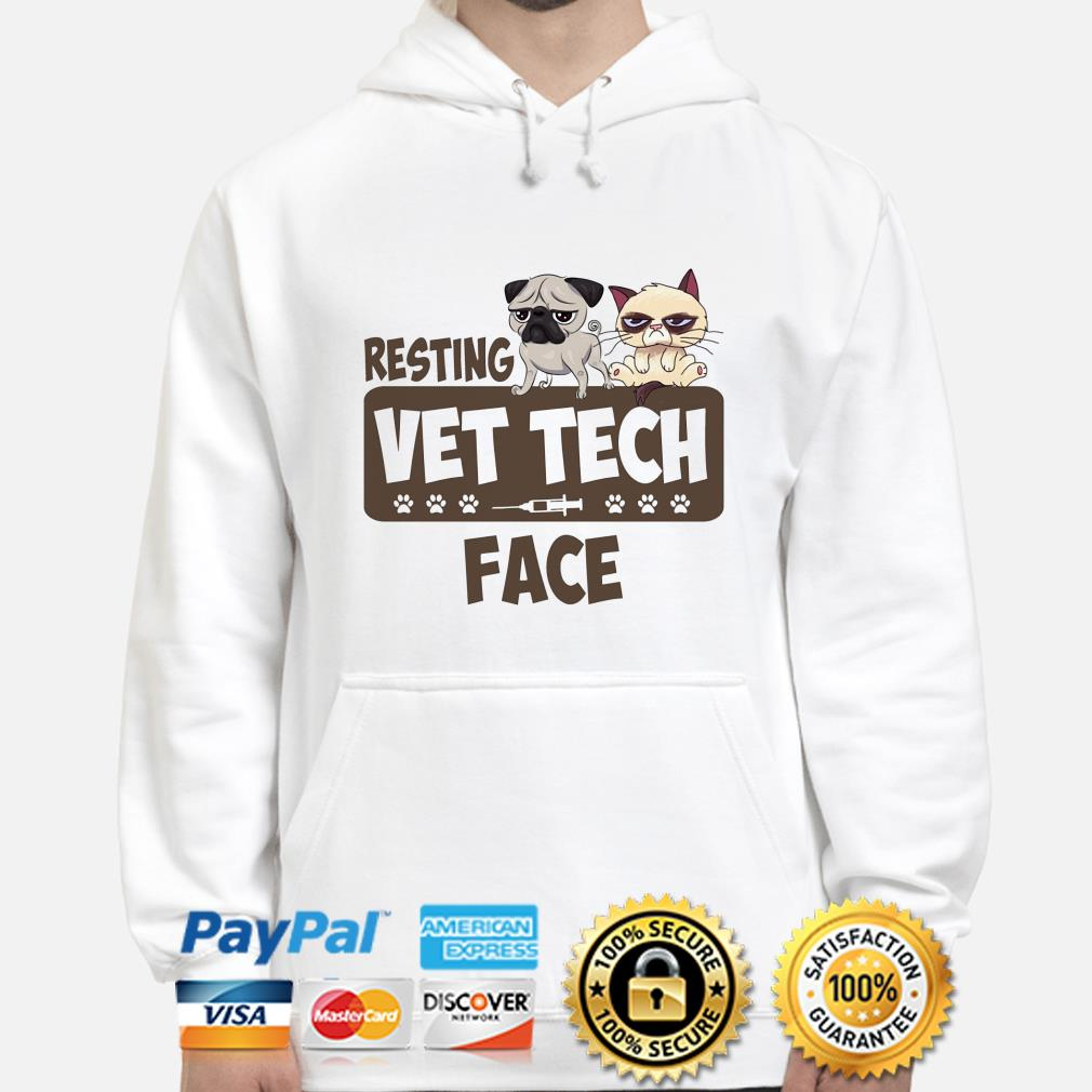 Pug and Grumpy cat resting vet tech face hoodie