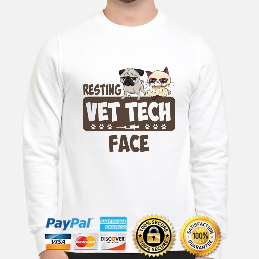 Pug and Grumpy cat resting vet tech face sweater