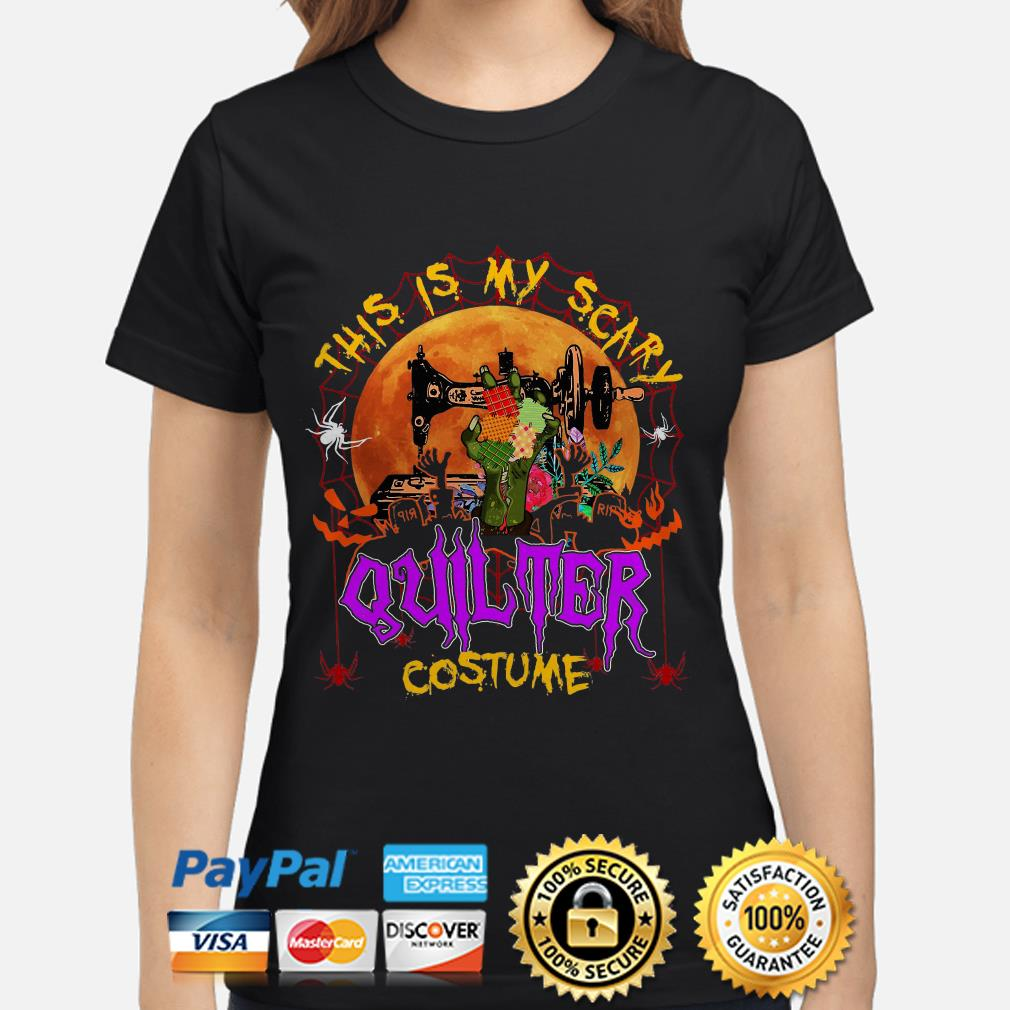 Sewing this is my scary quilter costume Halloween ladies shirt