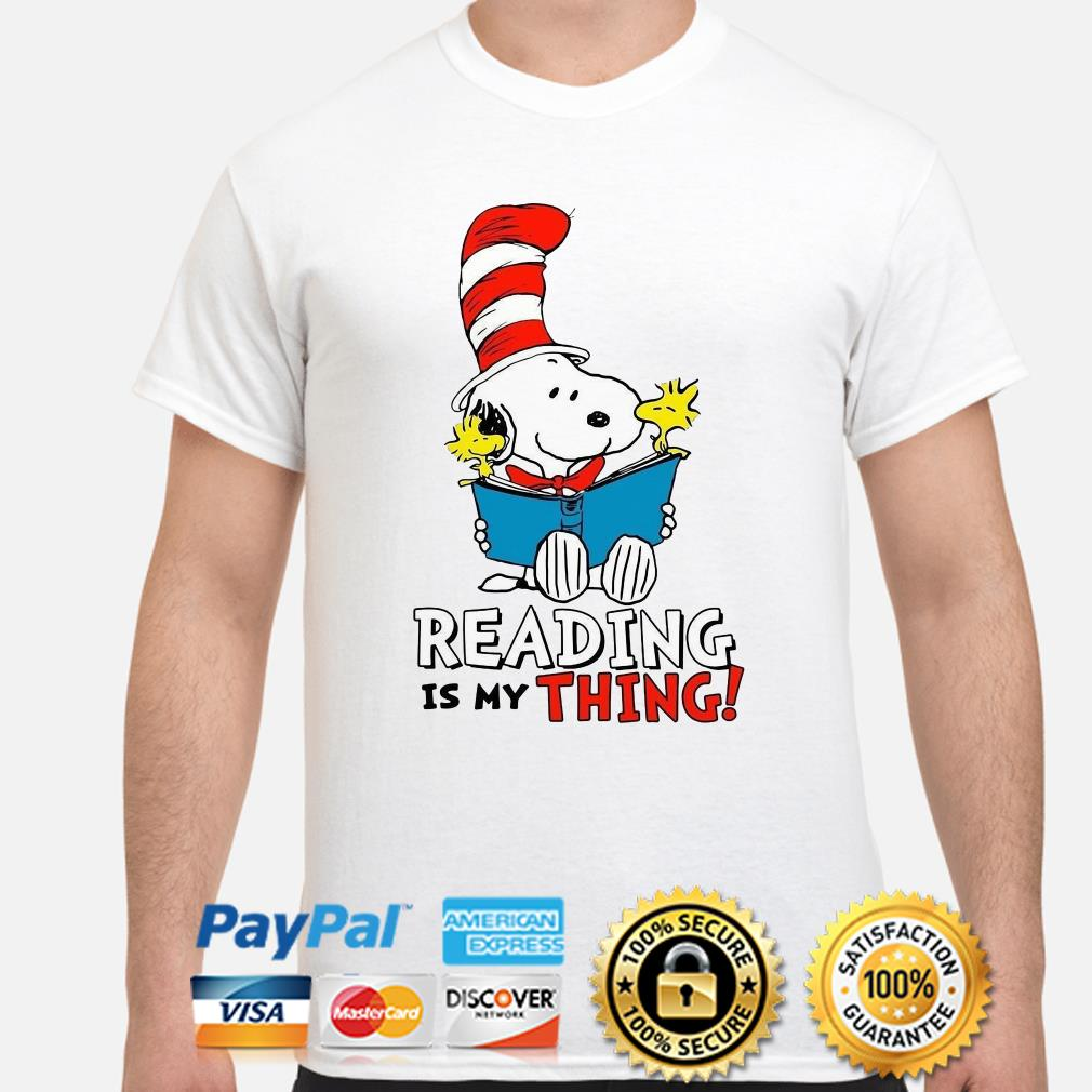 Snoopy and Woodstock reading is my thing shirt