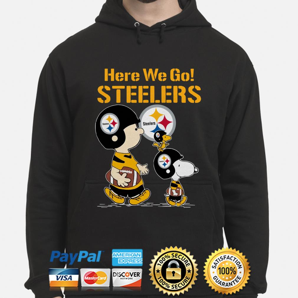 Snoopy Charlie Brown and Woodstock here we go Steelers hoodie