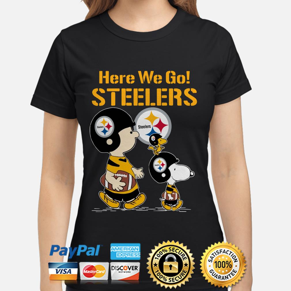 Snoopy Charlie Brown and Woodstock here we go Steelers ladies shirt