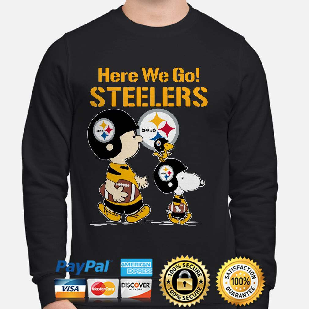 Snoopy Charlie Brown and Woodstock here we go Steelers sweater