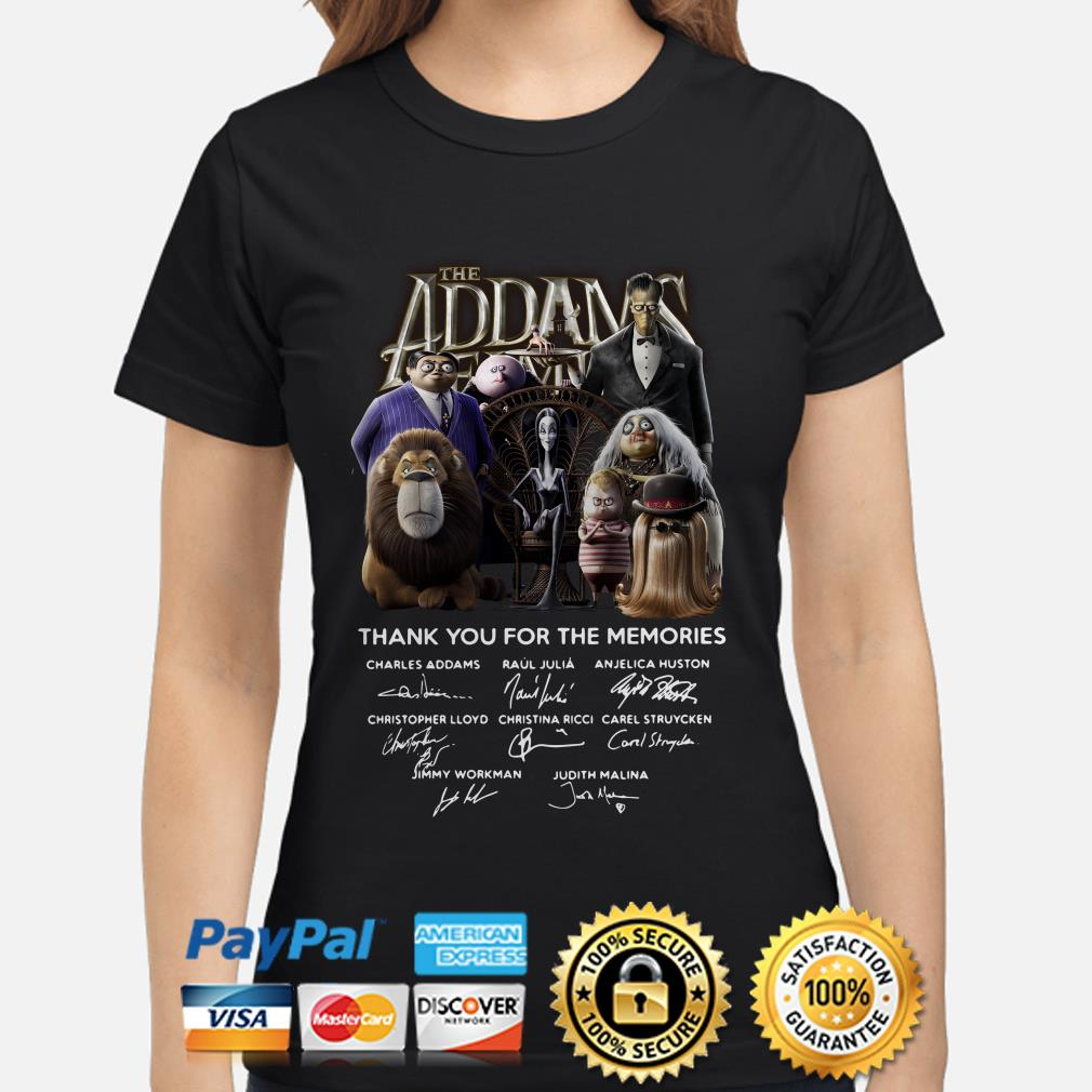 The Addams Family thank you for the memories signatures ladies shirt