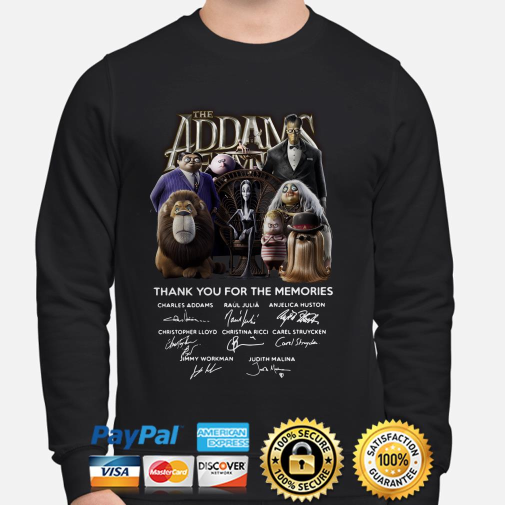 The Addams Family thank you for the memories signatures sweater