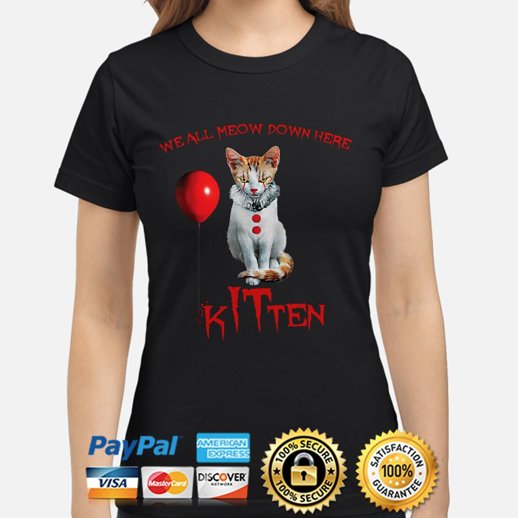 We all Meow down here Kitten IT ladies shirt
