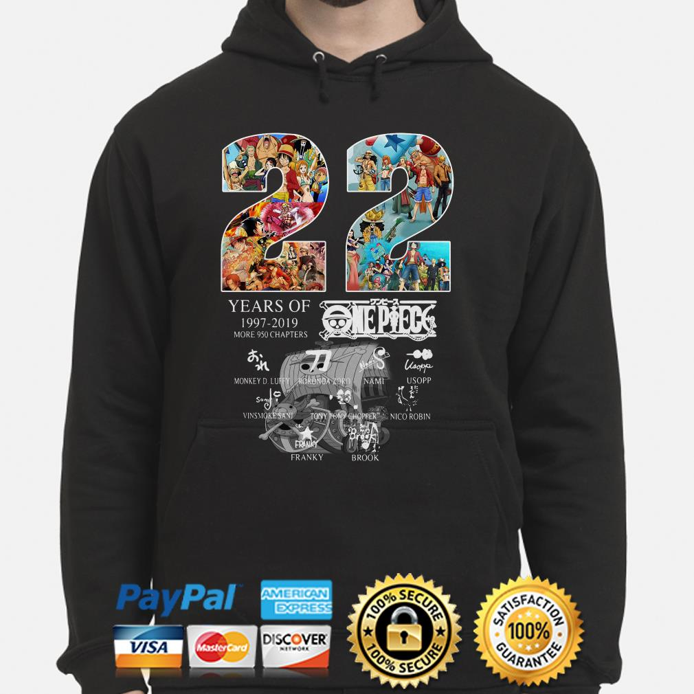 22 years of One Peace 1997 2019 signatures hoodie