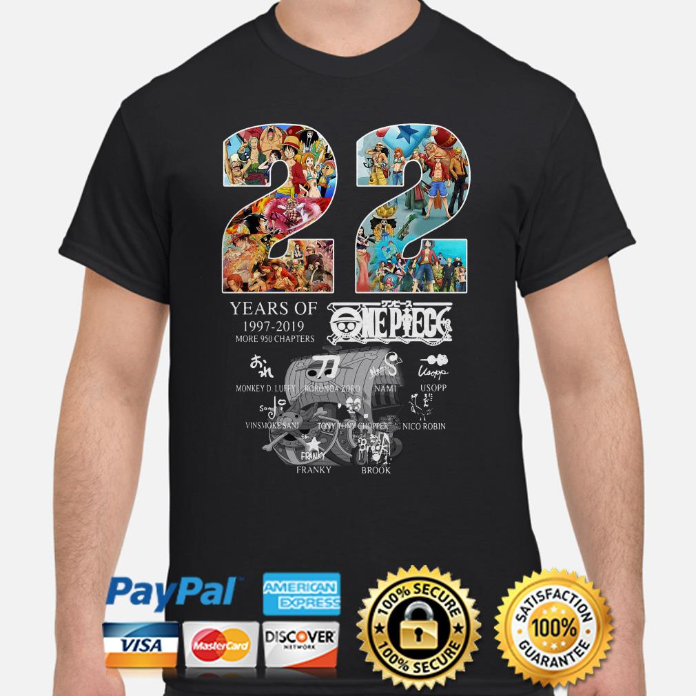 22 years of One Peace 1997 2019 signatures shirt