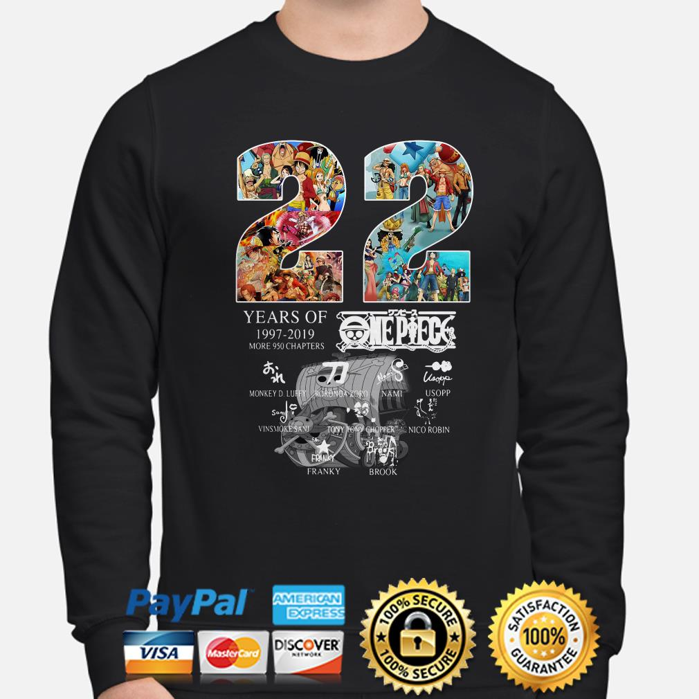 22 years of One Peace 1997 2019 signatures sweater