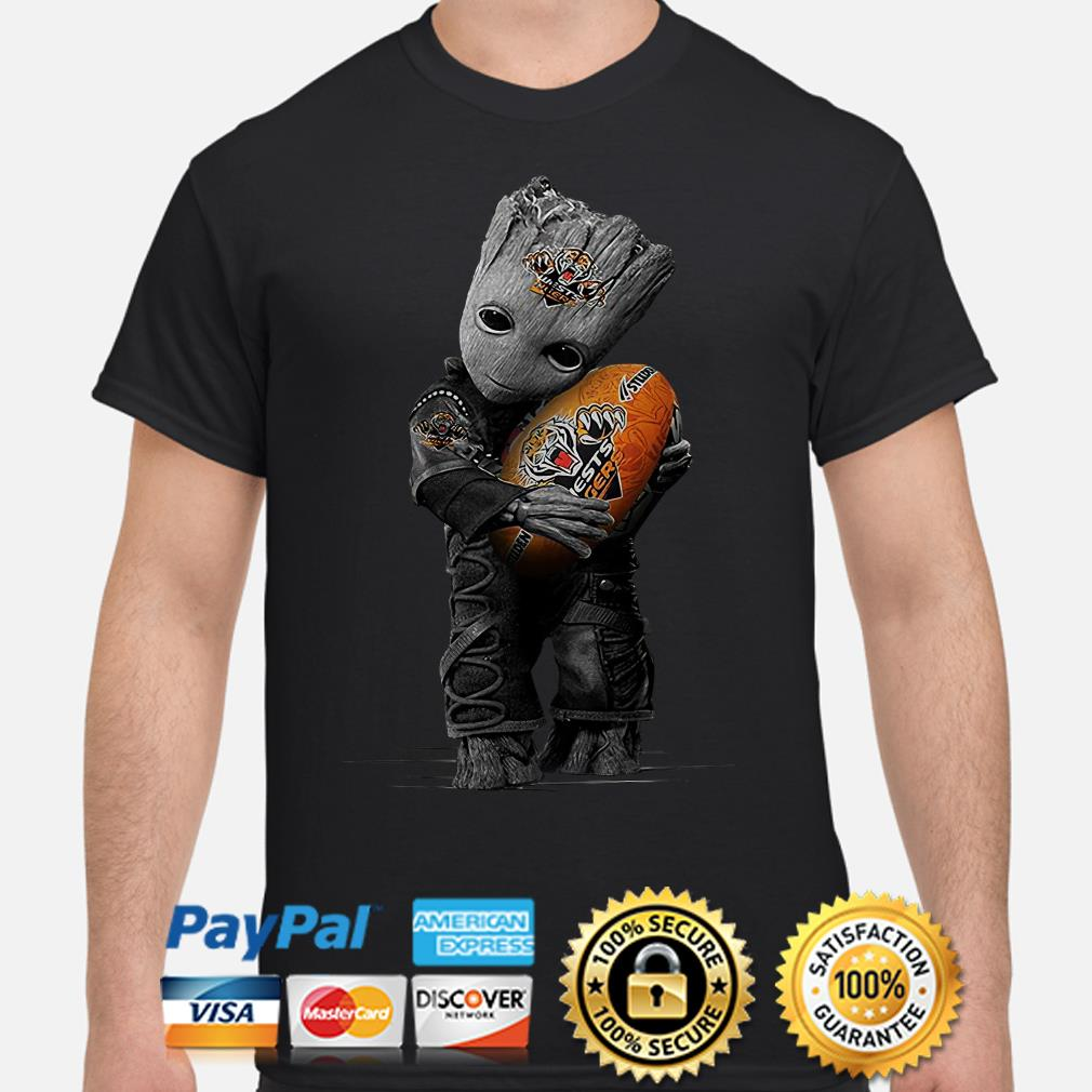 Baby Groot hugging Wests Tigers ball shirt