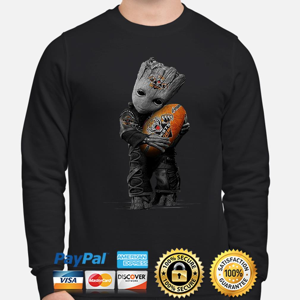 Baby Groot hugging Wests Tigers ball sweater