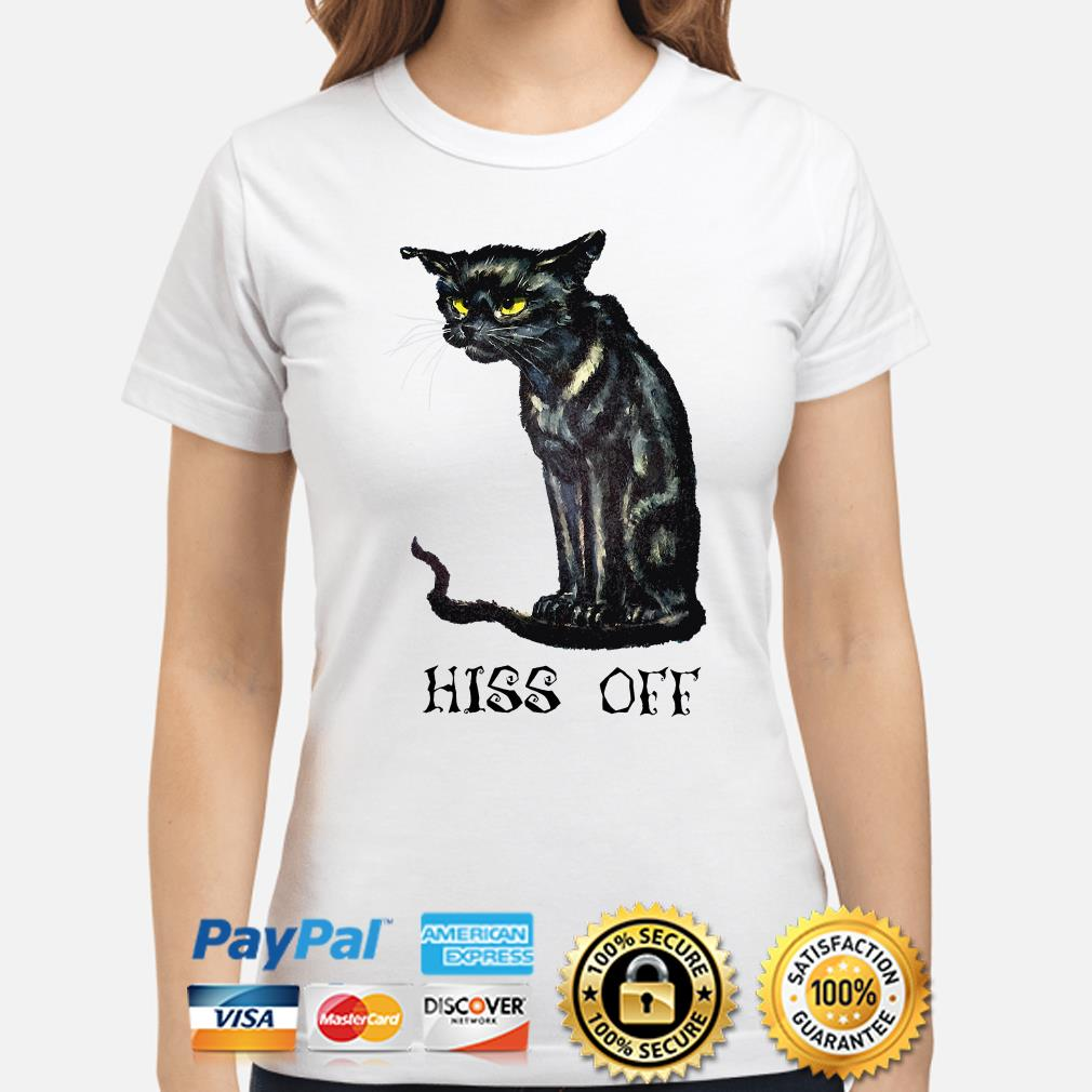 Black cat Hiss off Halloween ladies shirt