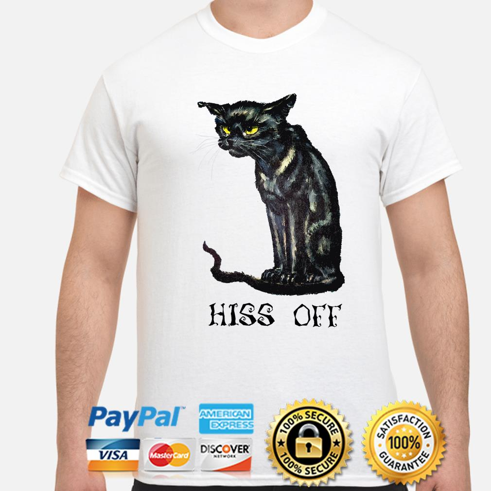 Black cat Hiss off Halloween shirt