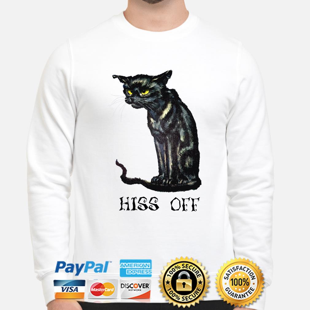 Black cat Hiss off Halloween sweater