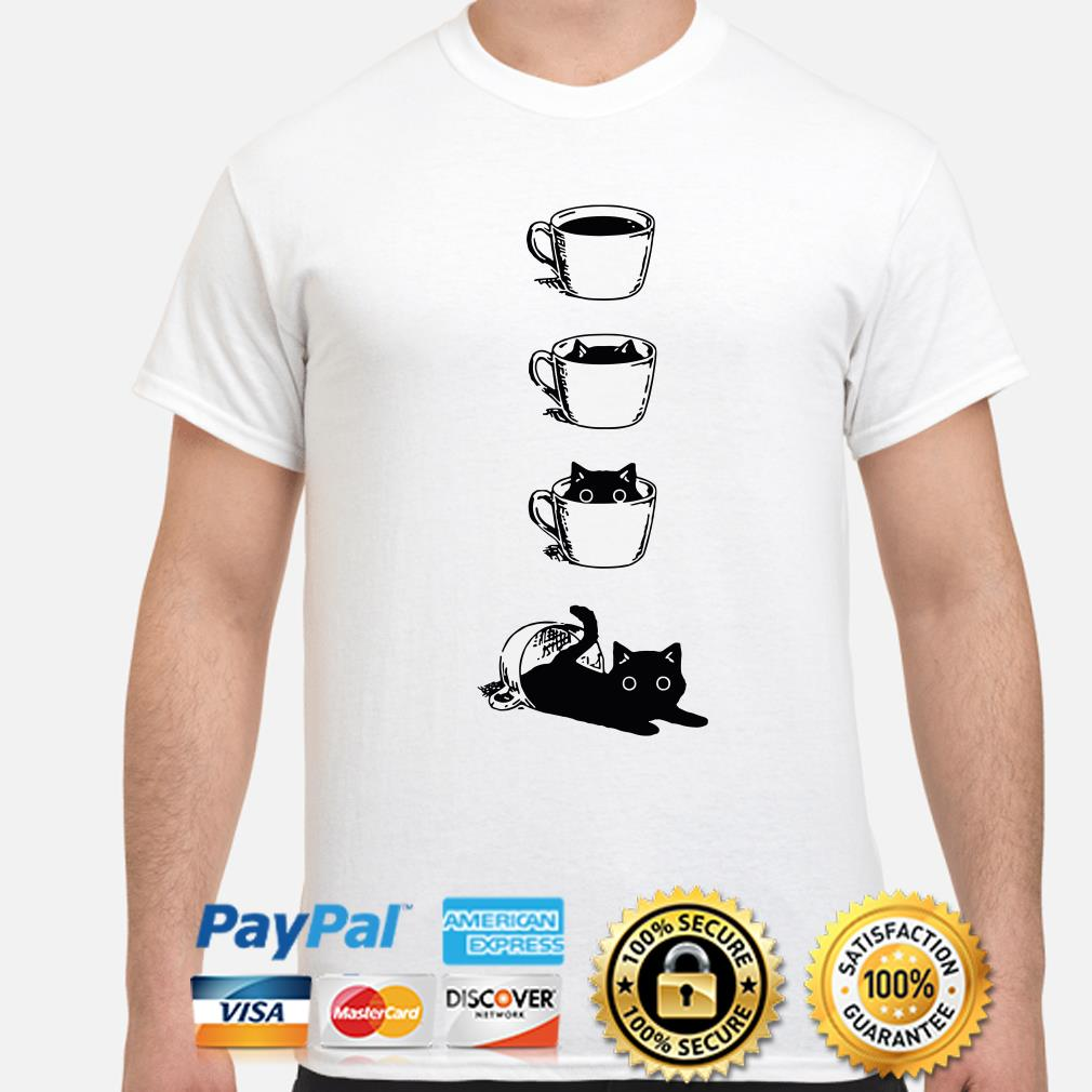 Black cat in the coffee cup shirt