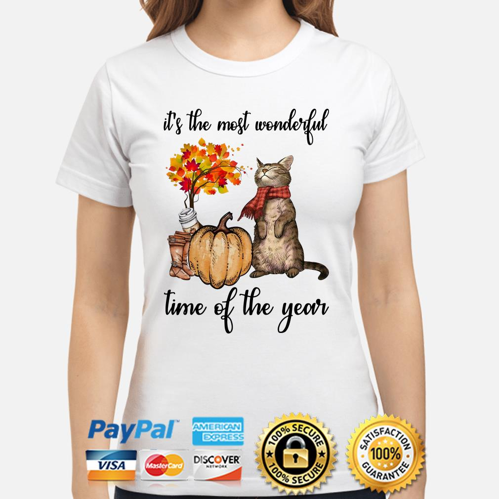 Cat Autumn it's the most wonderful time of the year ladies shirt