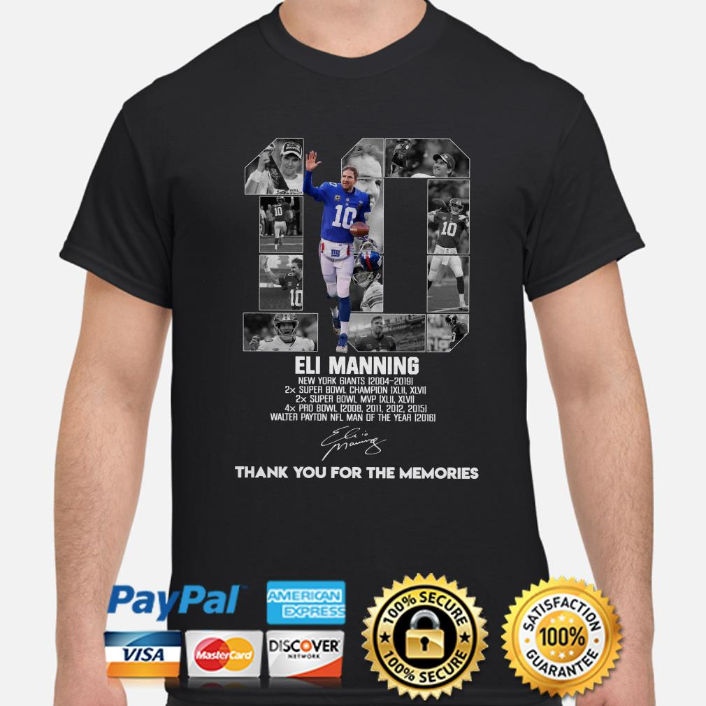 Eli Manning New York Giants thank you for the memories shirt
