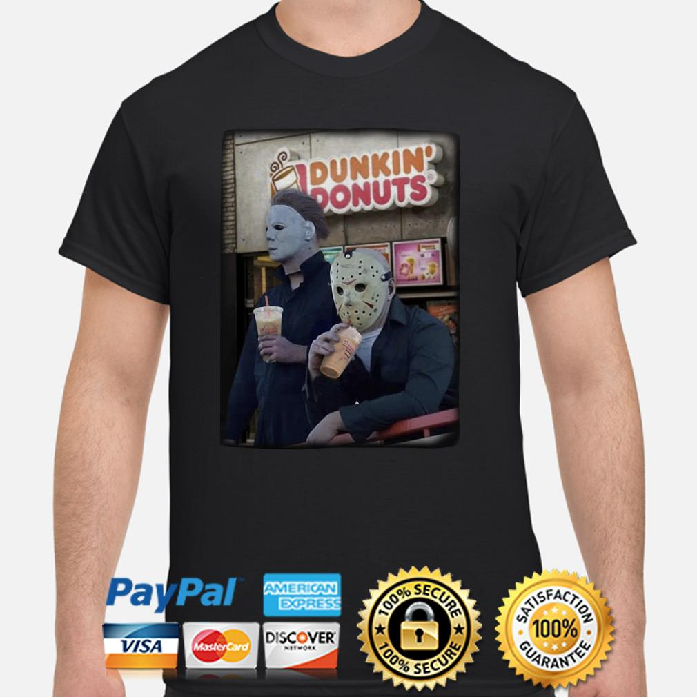 Michael Myers and Jason Voorhees Dunkin' Donuts coffee shirt