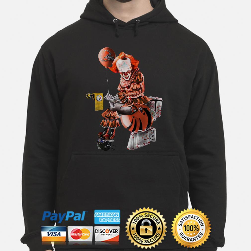 Pennywise Cleveland Browns sitting on Cincinnati Bengals toilet and step on Baltimore Ravens hoodie