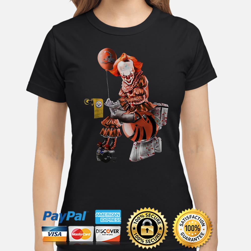 Pennywise Cleveland Browns sitting on Cincinnati Bengals toilet and step on Baltimore Ravens ladies shirt