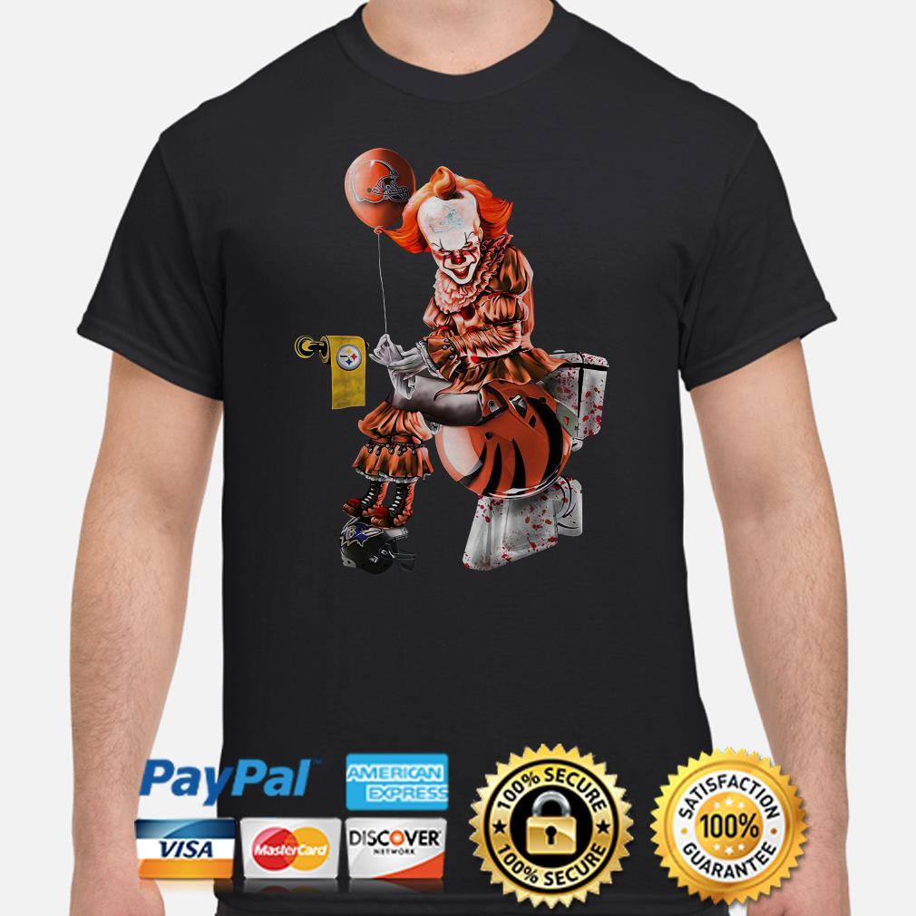 Pennywise Cleveland Browns sitting on Cincinnati Bengals toilet and step on Baltimore Ravens shirt