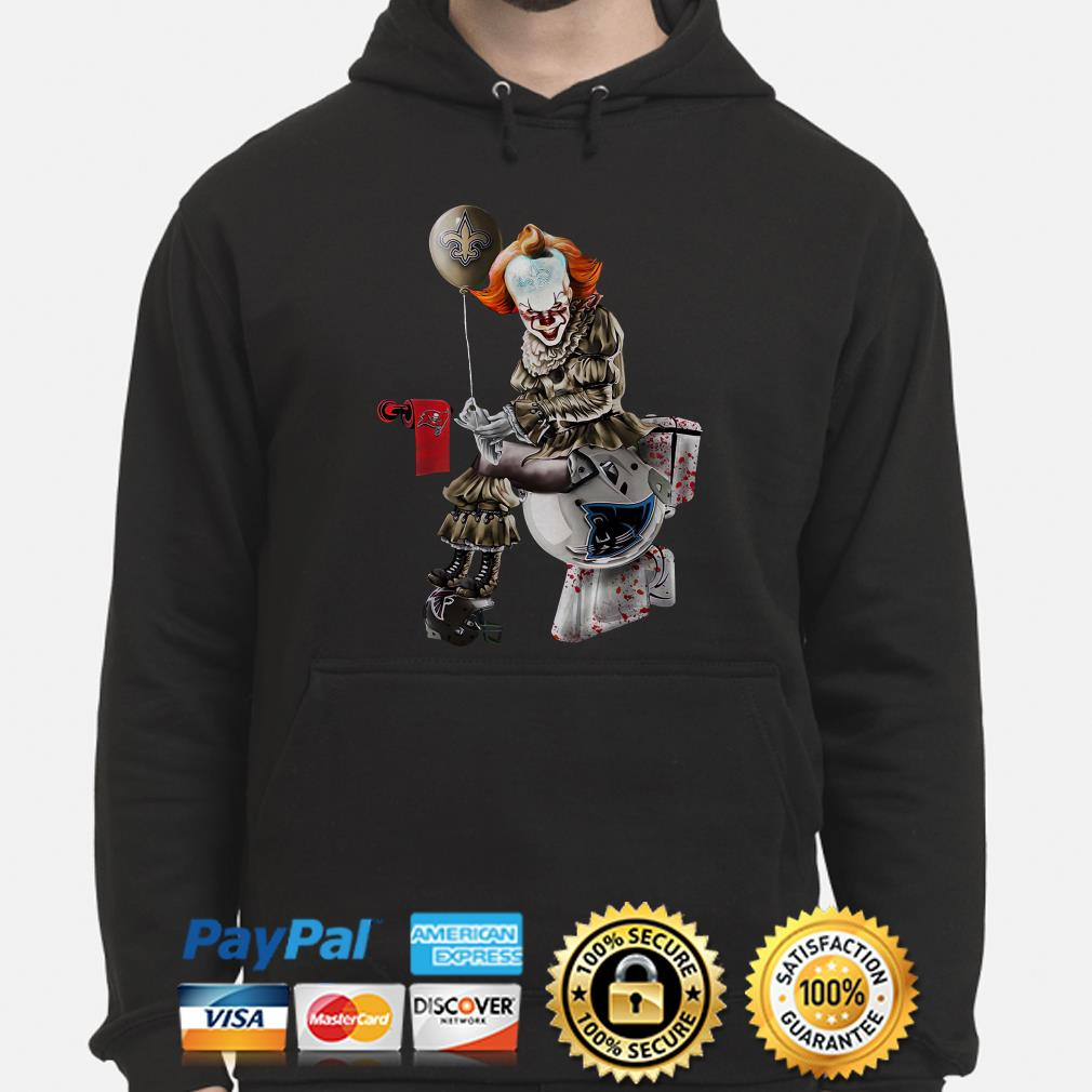 Pennywise New Orleans Saints sitting on Carolina Panthers toilet step on Atlanta Falcons hoodie