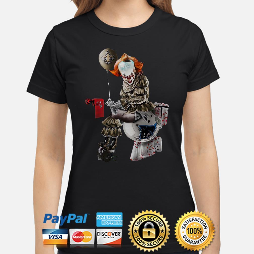 Pennywise New Orleans Saints sitting on Carolina Panthers toilet step on Atlanta Falcons ladies shirt