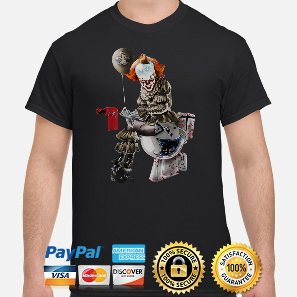 Pennywise New Orleans Saints sitting on Carolina Panthers toilet step on Atlanta Falcons shirt