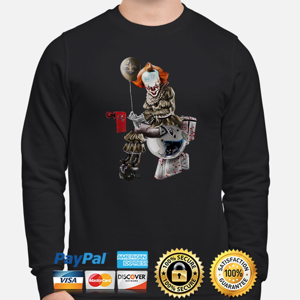 Pennywise New Orleans Saints sitting on Carolina Panthers toilet step on Atlanta Falcons sweater