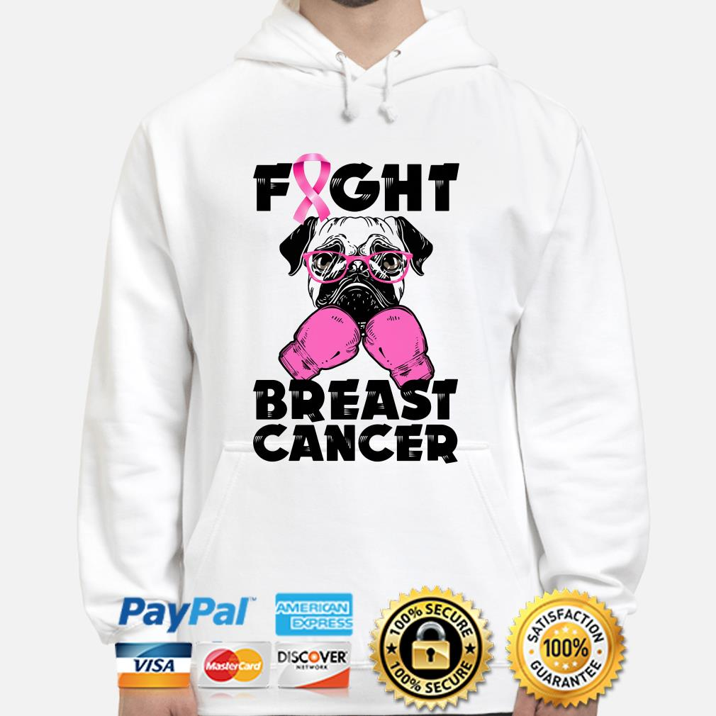 Pug Boxing fight breast cancer hoodie