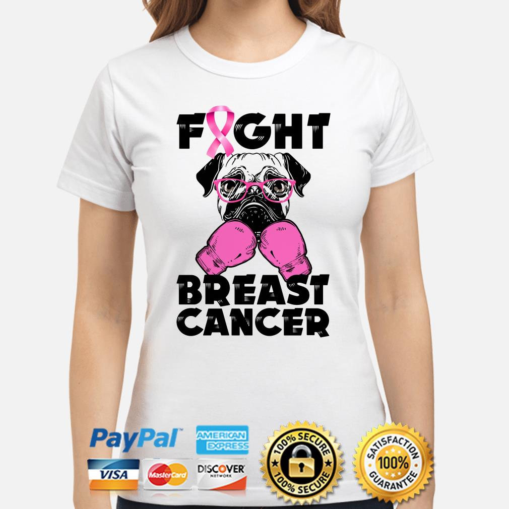Pug Boxing fight breast cancer ladies shirt