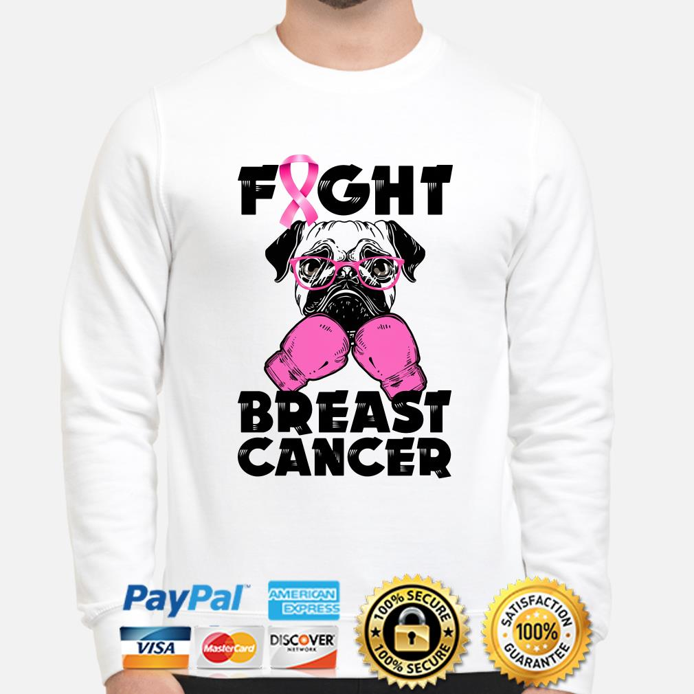 Pug Boxing fight breast cancer sweater