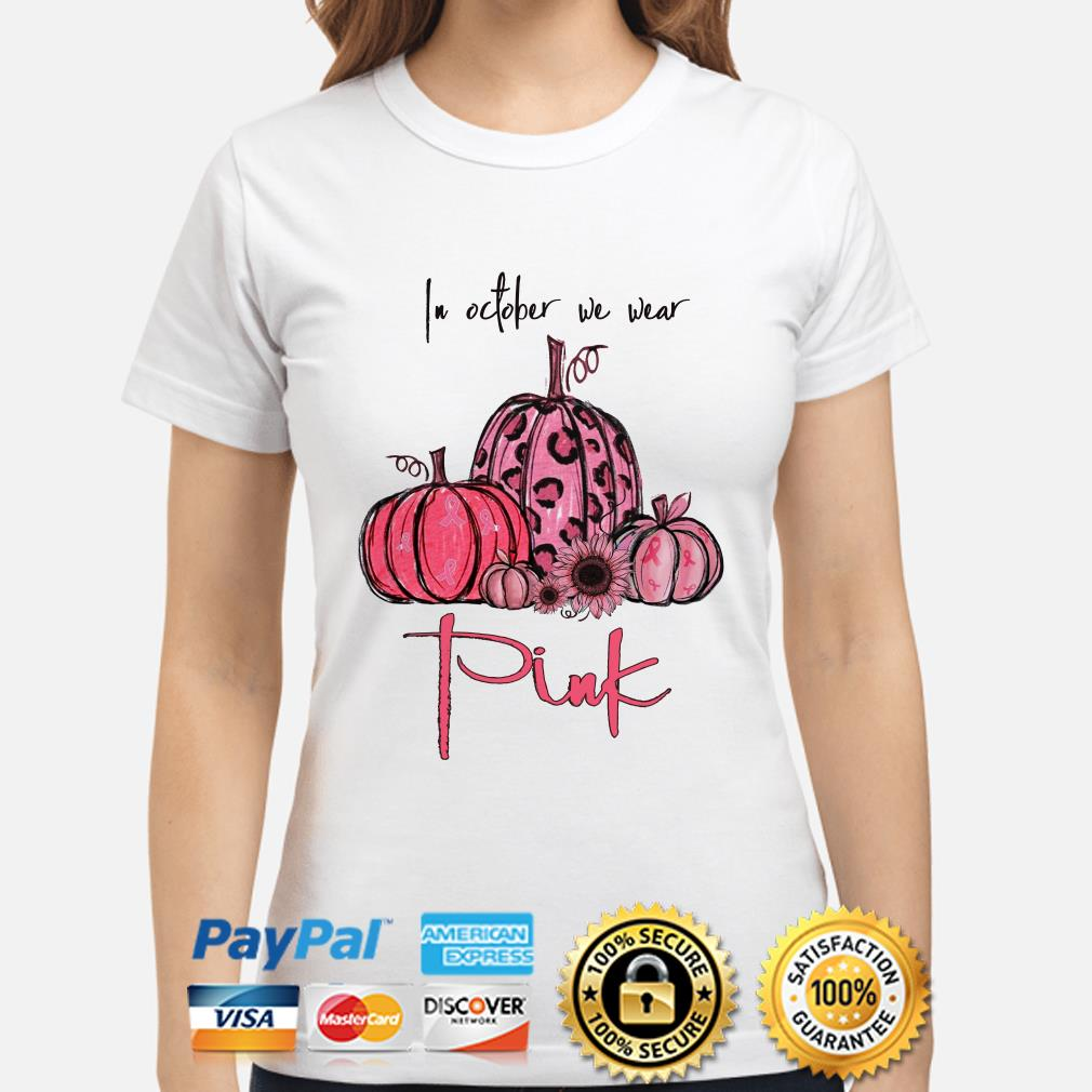 Pumpkin and sunflower breast cancer awareness in October we wear Pink ladies shirt
