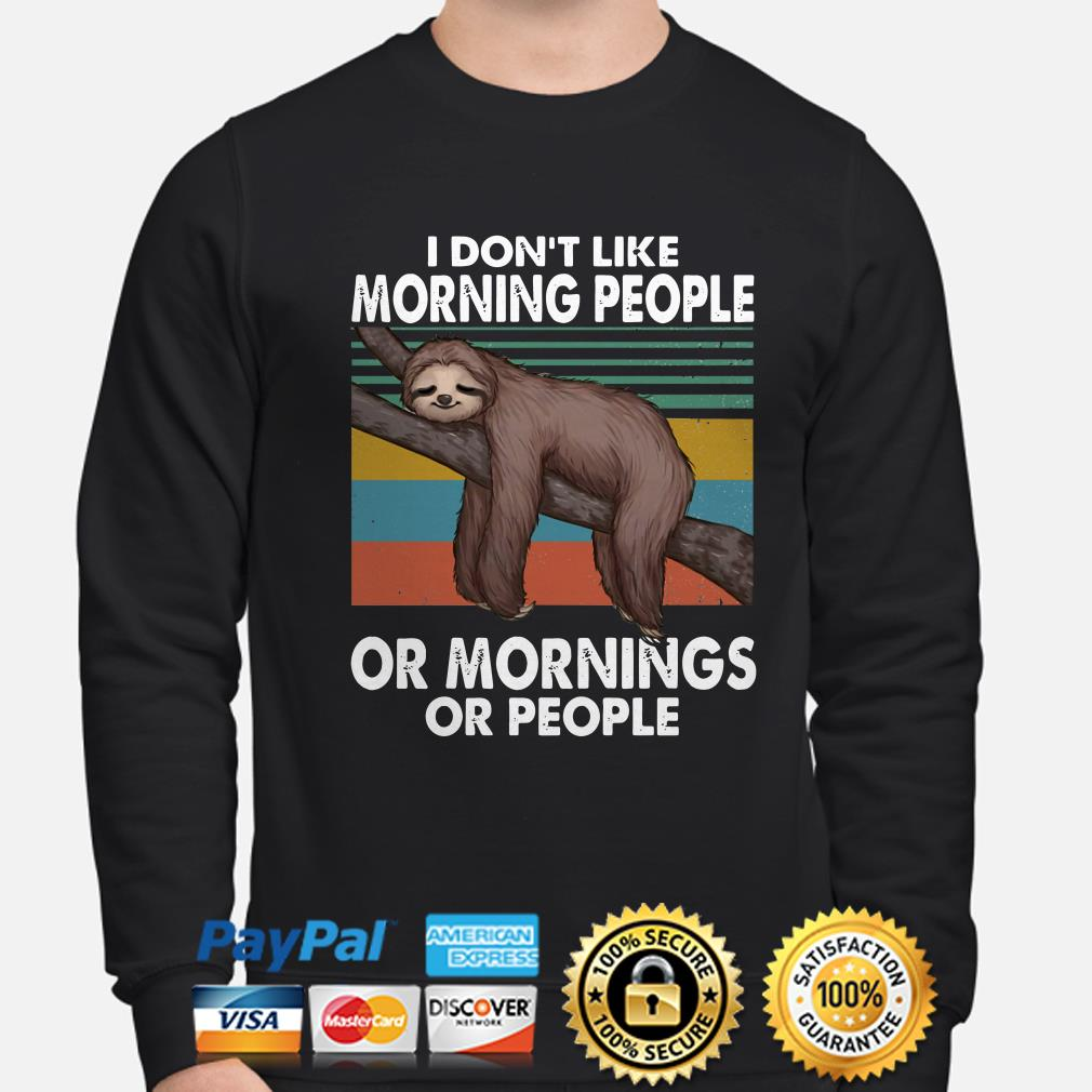 Sloth I don't like morning people or mornings or people vintage sweater