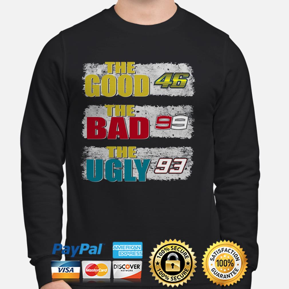The good 46 Valentino Rossi the bad 99 Jorge Lorenzo the ugly 93 Marc Marquez sweater