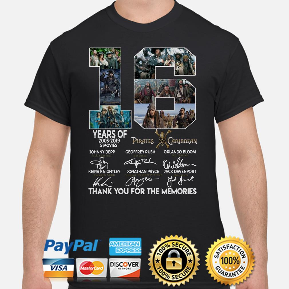 16 years of Pirates Caribbean thank you for the memories shirt