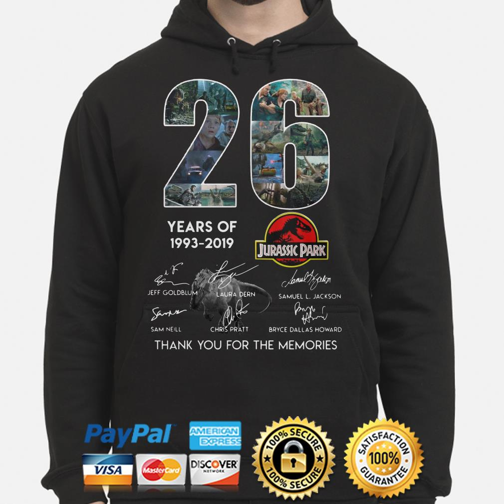 26 years of Jurassic Park thank you for the memories hoodie